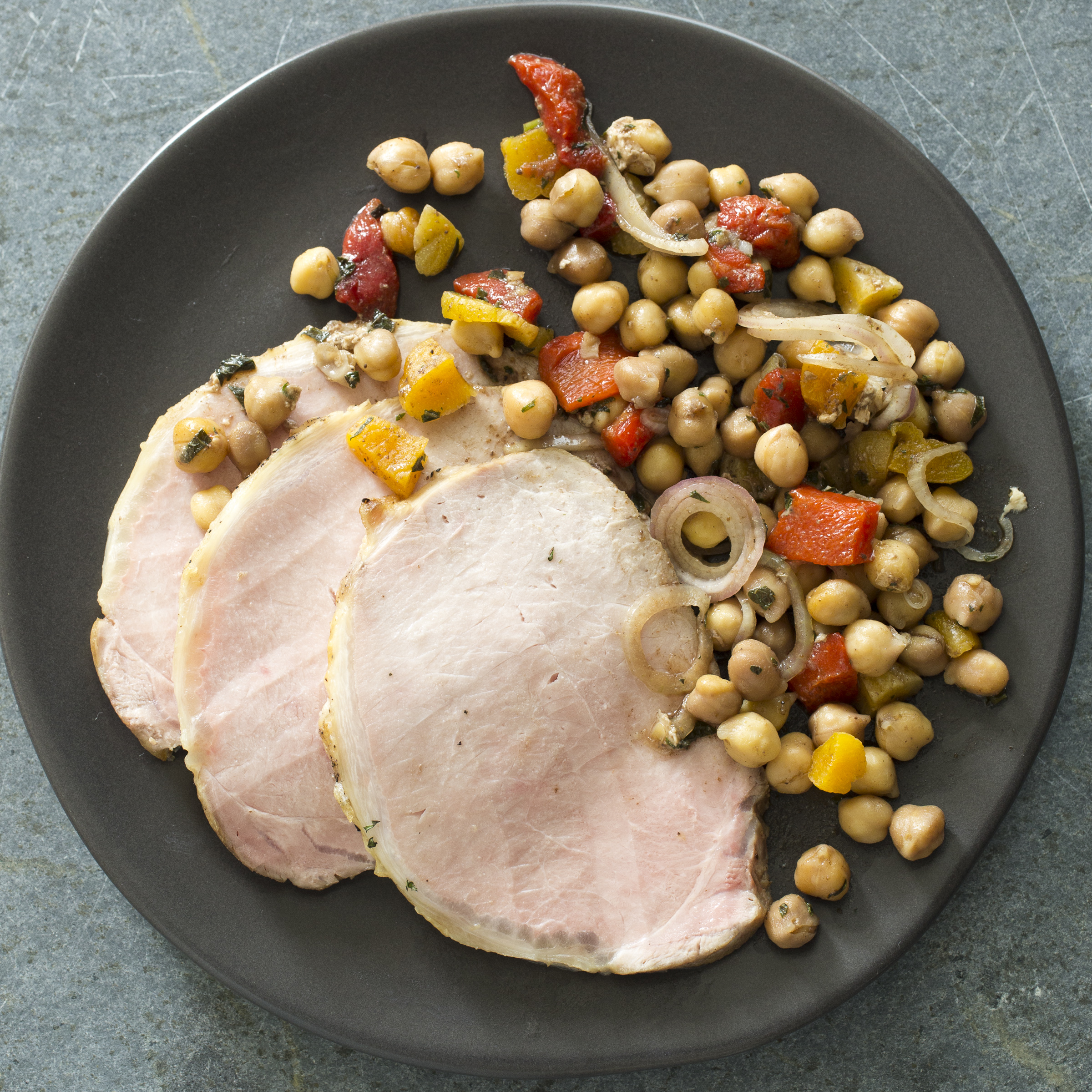 Pork Loin With Warm Spiced Chickpea Salad Healthy Slow